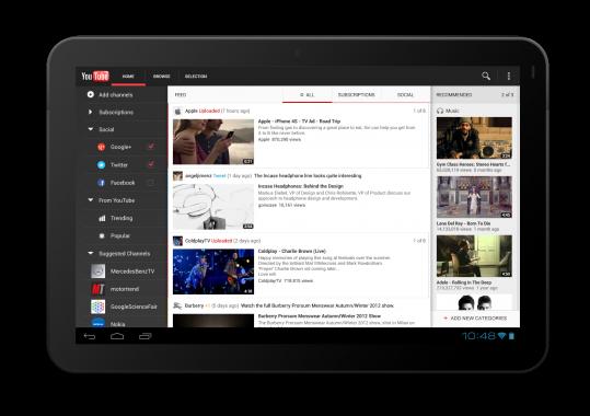 Pantalla que muestra la interfaz del servicio online de Youtube en una tablet